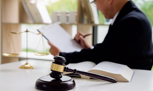 Gavel and a lawyer working