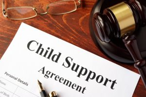 Child support agreement on an office table