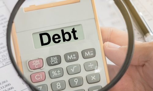 Debt Text on Calculator