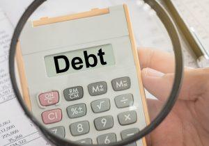 Debt Text on Calculator