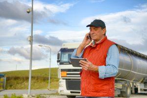 truck driver calling via mobile phone