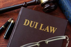 DUI Law title on a book and gavel