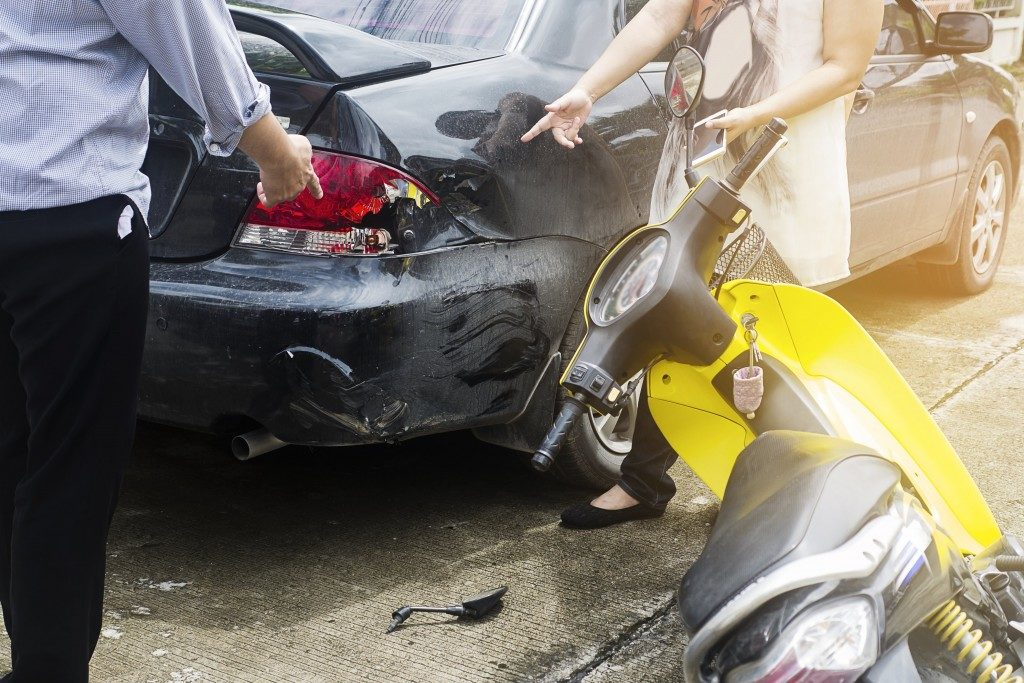 Motorcycle and driver accident