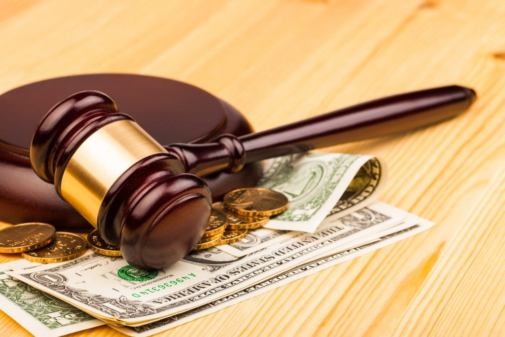 gavel and money, law concept
