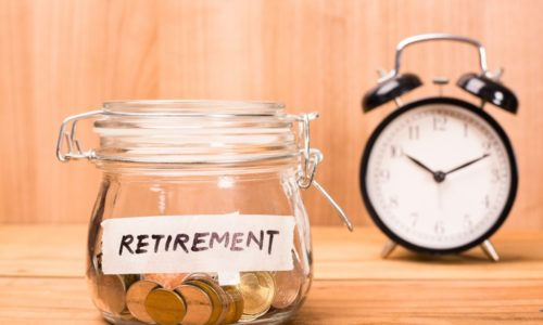 retirement funds in a glass jar