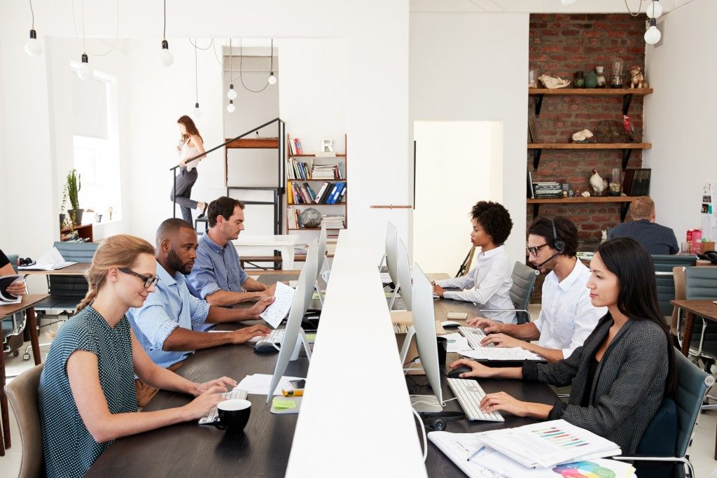 employees with clear office desks