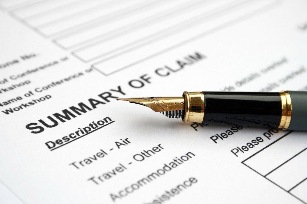 Summary of Claim form